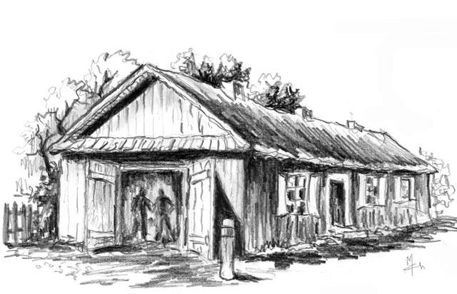 Końskie, ulica Nowy Świat 7. Był to długi drewniany budynek - kuźnia mieściła się pod zadaszeniem od czoła budynku. Istniał on przez kilka lat po wojnie. Później jak wiele innych został rozebrany. Rysunek Mariana Chochowskiego