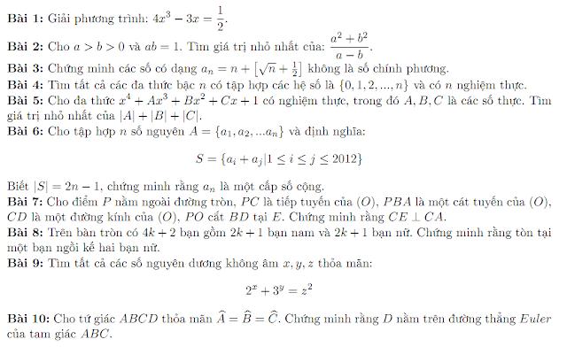 Đề thi giải toán đồng đội của Gặp gỡ toán học 2012 và một số tin liên quan
