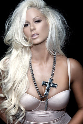 busty blonde Maryse Ouellet sexy dressed modelling jewelry - picture 1