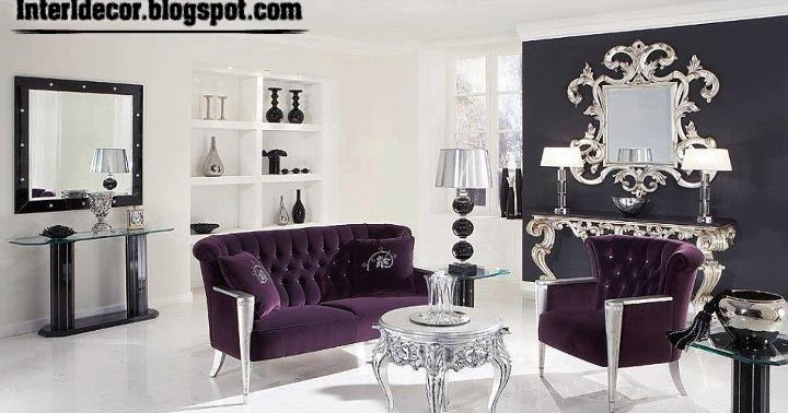 International living room ideas with purple furniture 2015 for Purple black and silver living room ideas
