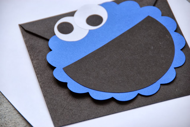 cookie monster cricut paper invitation