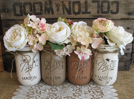 rustic style painted Mason jars