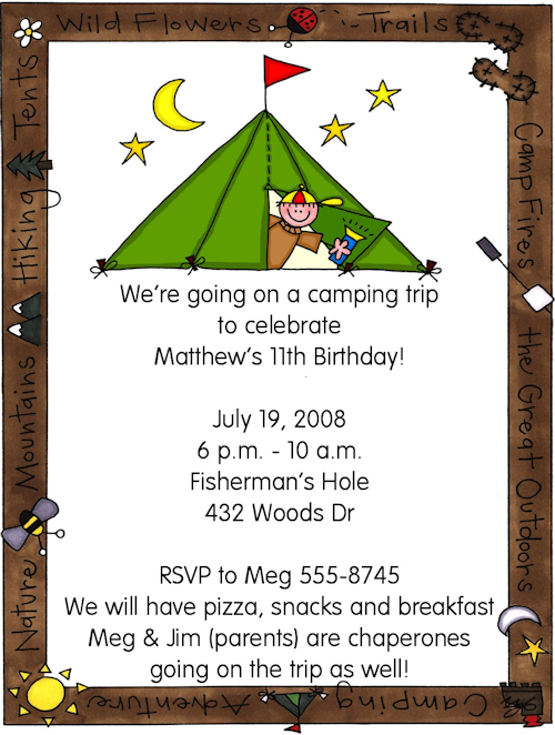 Party Blog Camping Birthday Invitations And Decorating
