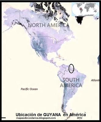 Ubicación de GUYANA en América, vista aérea, BING