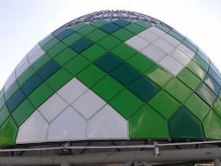 pemasangan, penutup, atap, kubah, masjid, panel, kotak-kotak, galvalum, powdercoating, warna-warni