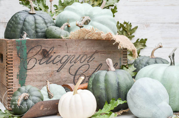 Decorate with pumpkins in a wood crate for fall.  |  www.andersonandgrant.com