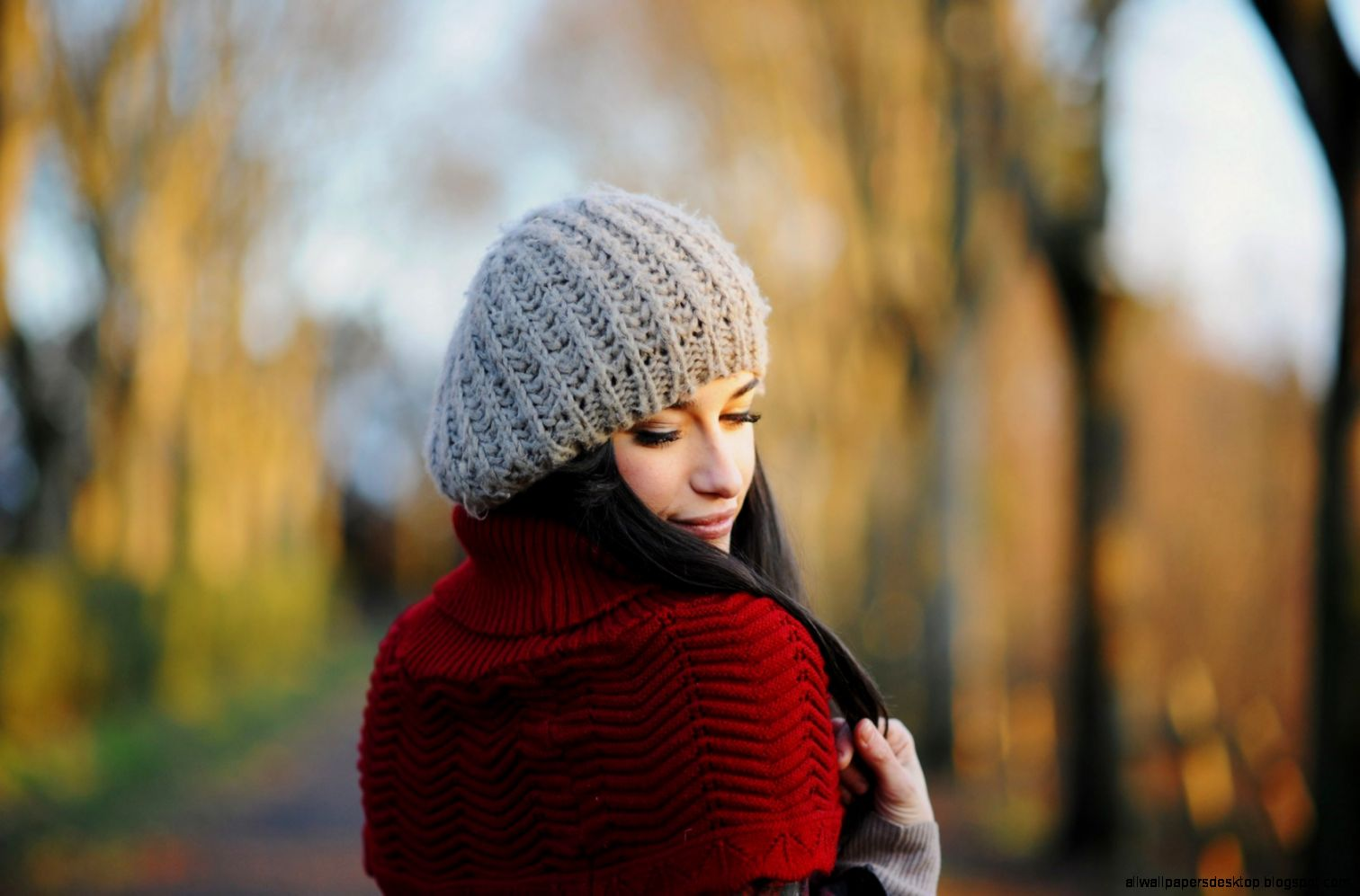 Girl Hat Sweater Bokeh HD Wallpaper   FreeWallsUp