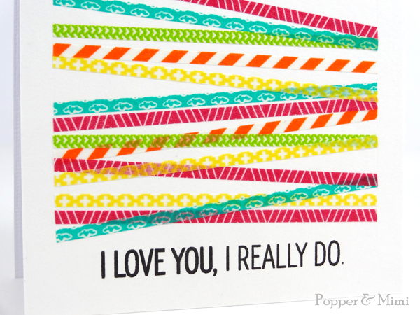 Graphic Washi Tape Stripes Card closeup | popperandmimi.com