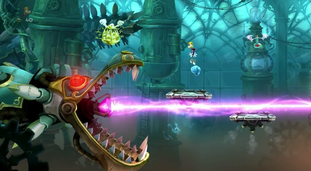 "Screenshot of mechanical dragon in ""A Madman's Creation,"" one of the boss levels found in Rayman Legends"