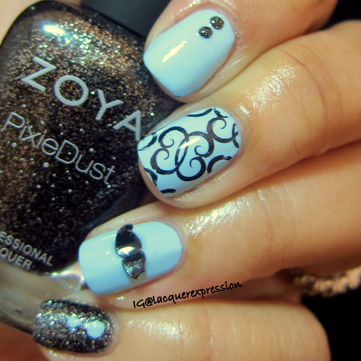 Movember mustache nail art using Dahlia by Zoya