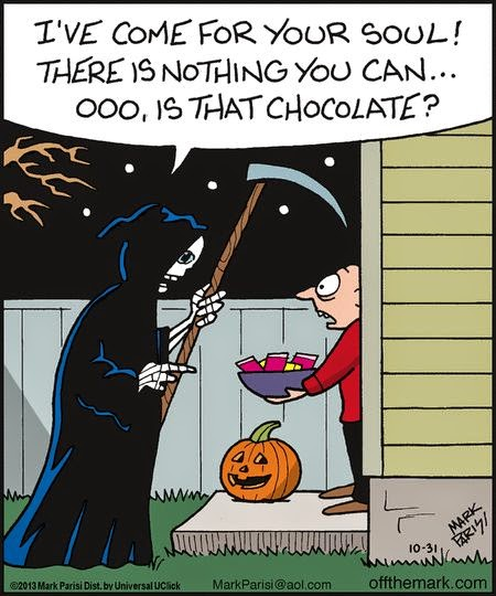 Funny grim reaper death chocolate joke picture
