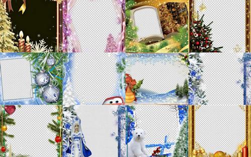 BANCO DE IMAGENES GRATIS: 12 porta retratos navideños PNG para poner