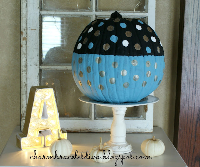 painted polka dot faux pumpkin