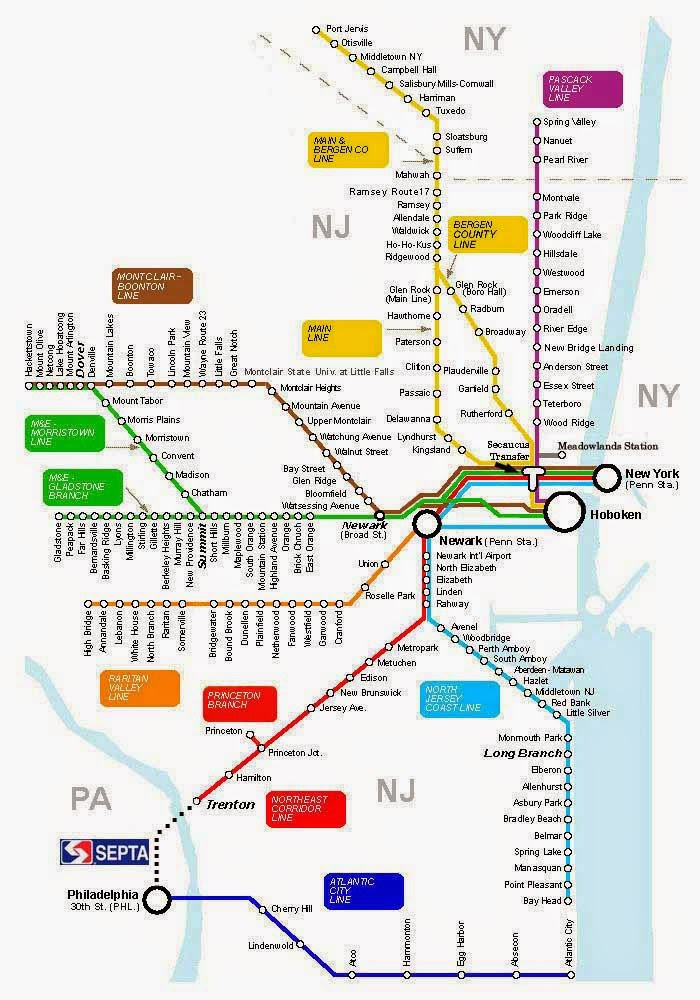 Map of Newark trains and NYC connections