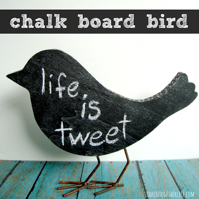 First i painted the front and back of my wooden bird with chalk board