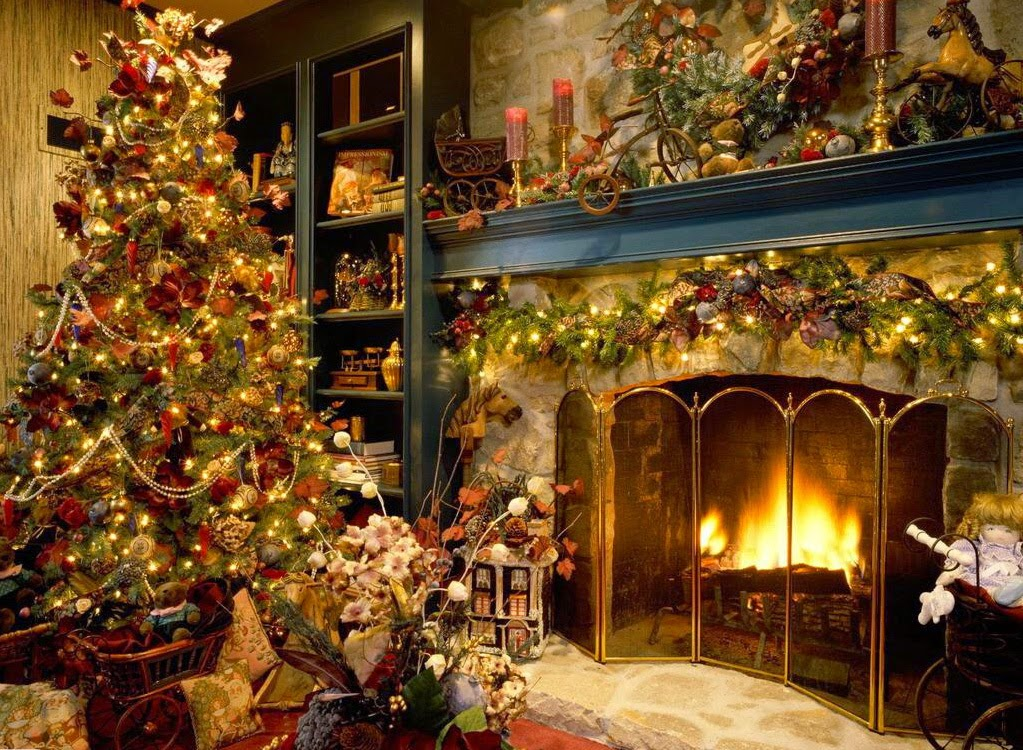 well arranged christmas tree wallpaper and fire place