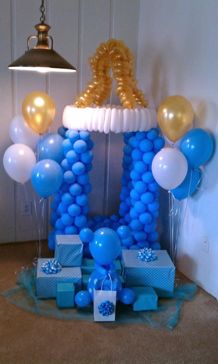 Decoracion de baby shower con columnas de - Decoracion para baby shower ...