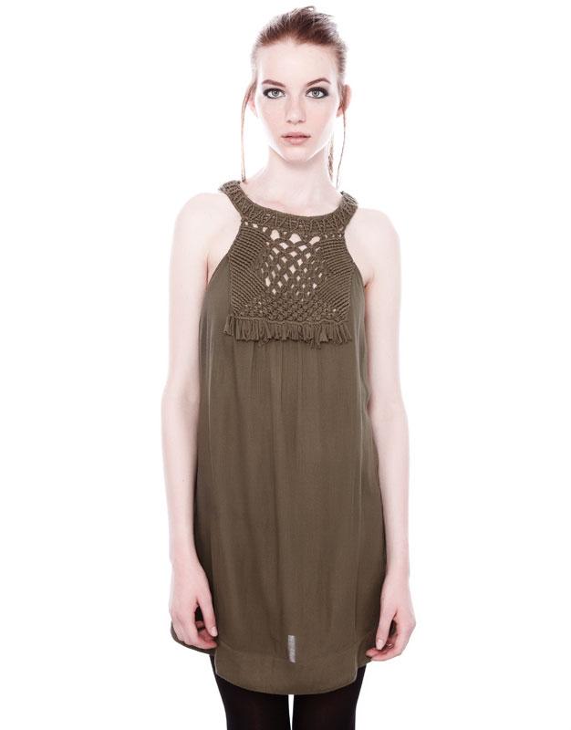 yakası antel kısa elbise, haki