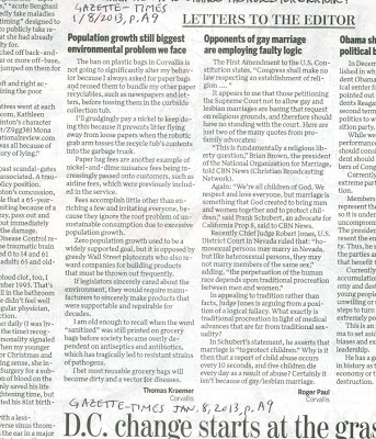 Plastic ban letter next to gay marriage letter Gazette-Times, Jan. 8, 2013, p. A9
