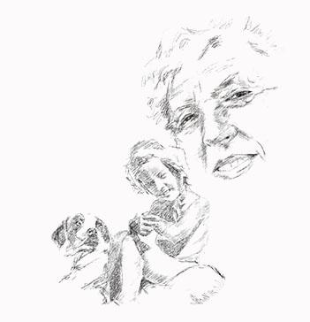 Dibujo a lápiz de la misma mujerde  mayor y de pequeña