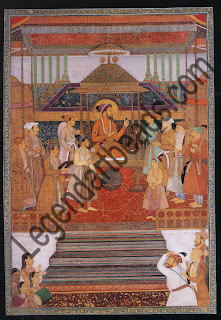 EMPEROR SHAH JAHAN ON THE PEACOCK THRONE Page born a Badshah Nama manuscript Mughal; dated 5th January 1640 Opaque watercolour and gold on paper 36.9 cm x 24.6 cm San Diego Museum of Art, Edwin Binney ill Collection Artists renderings of the Peacock Throne are all that we have to rely on to visualize the most famous imperial seat in history.