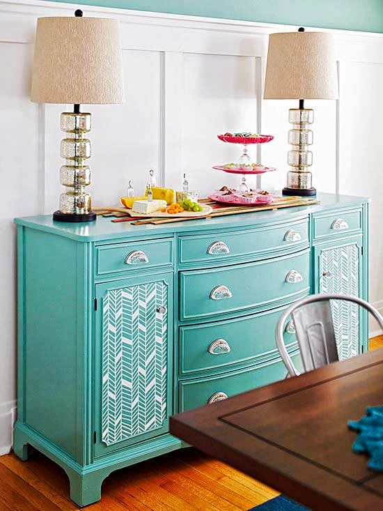 turquoise and stylish cabinet