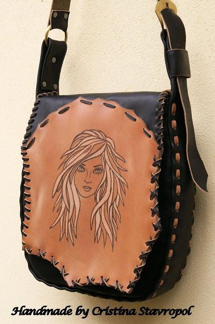 geanta handmade girl face