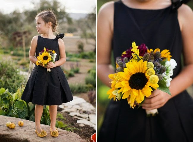 rustic flower girl sunflower bouquet