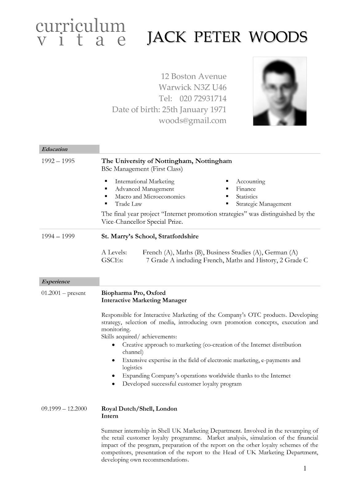 resume in american format