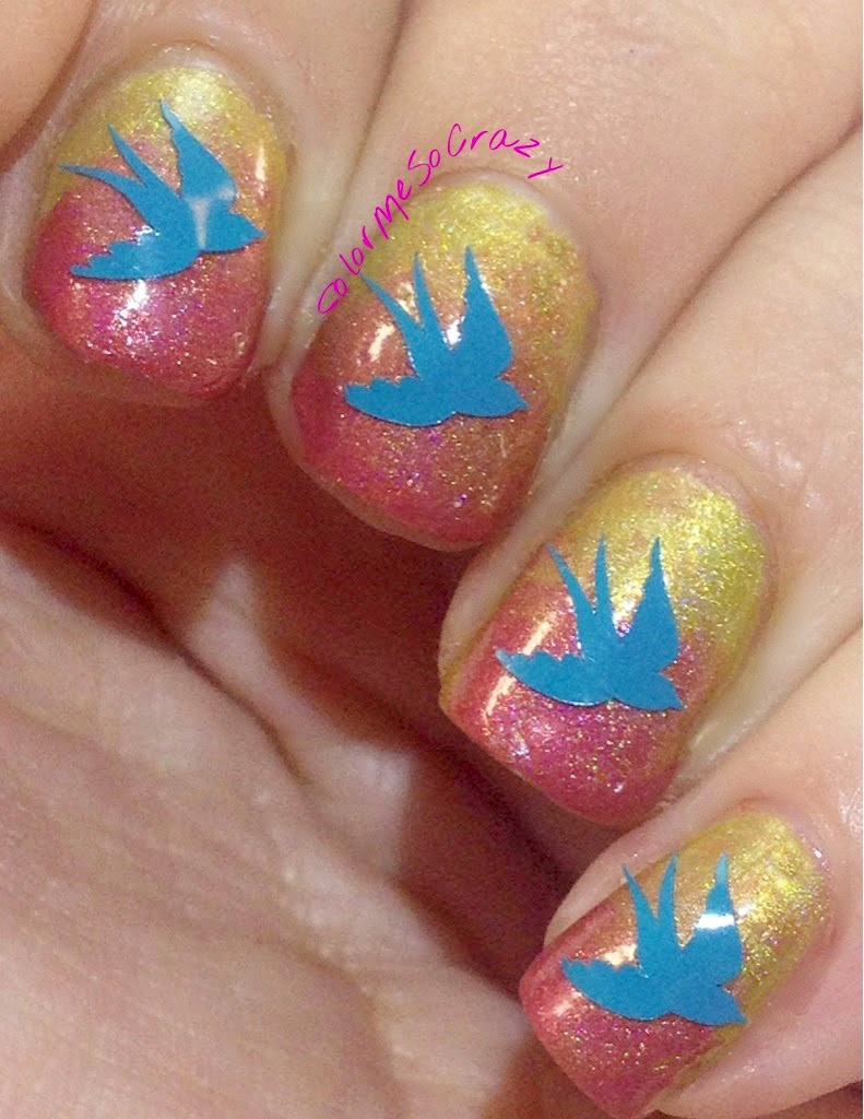Sparrow Decals from YouPolish over Blue Eyed Girl Lacquers Polish