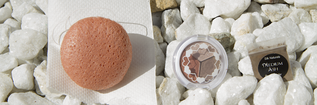 Photo of Konjac Sponge, Pacifica Love 3 Eyeshadow Trio, and Silk Naturals Medium Ash Brow Powder