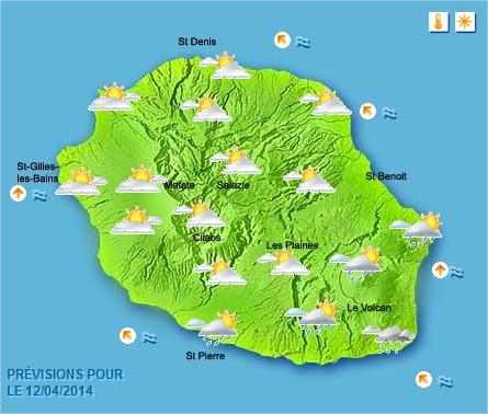 Prévisions météo Réunion pour le Dimanche 13/04/14
