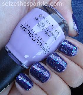 Rainbow Flakies over Purple Nails
