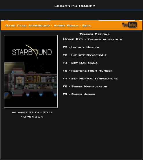 Starbound Update 23.12.13 Beta Trainer +7 [LinGon]