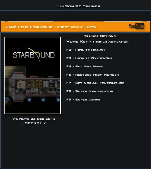 Starbound Update 23.12.13 Beta Trainer +7 [LinGon]