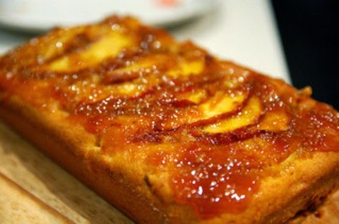 Soft peach cake loaf