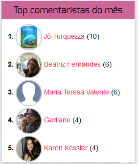 top comentaristas do meu blog em abril