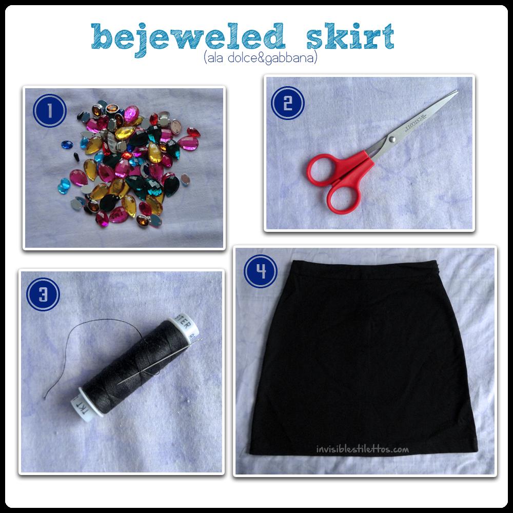 DIY Bejeweled Skirt (Dolce & Gabbana Inspired)
