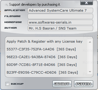 Patch Advanced SystemCare Ultimate 7
