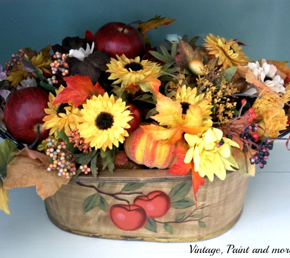 Vintage, Paint and more... colors of fall flower arrangement