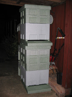 Polystyrene hives complete with deep brood boxes, two supers and feeder