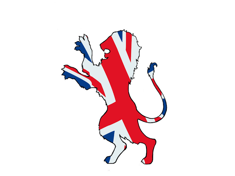 tattoo design of lion colored by british flag title=