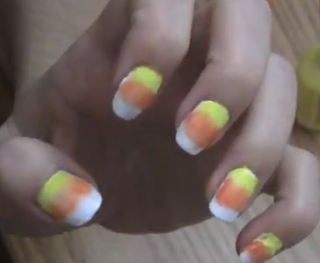 candy corn inspired nail style for girls