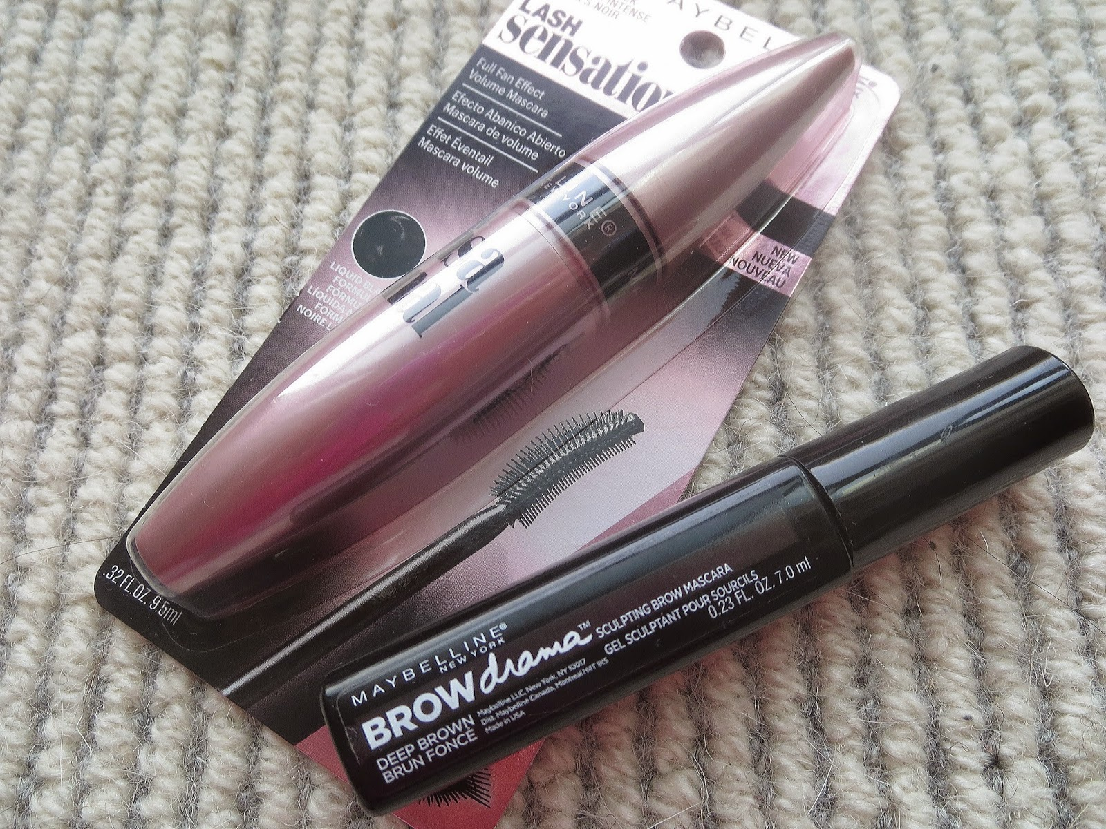 a picture of Maybelline Lash Sensational Mascara & Maybelline Brow Drama Sculpting Brow Masacara