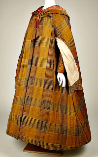 plaid pattern cloak with capelet-side view