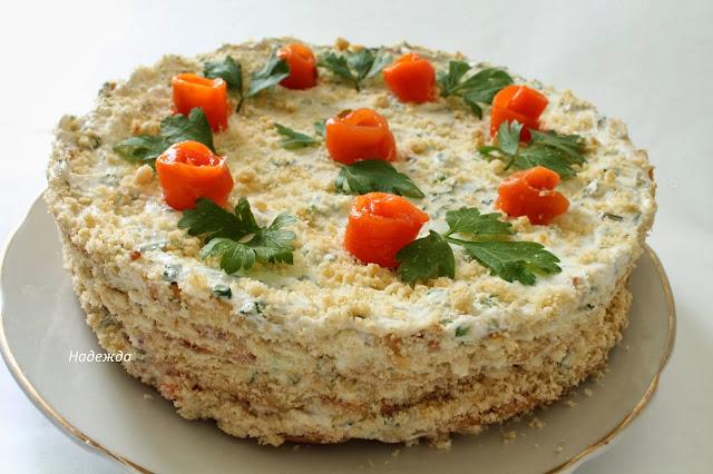 Кабачковый закусочный торт рецепт