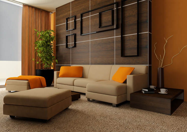 Living Room Orange Ideas | Simple Home Decoration