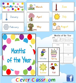 Months of the Year Cards + Seasons Poster - both hemispheres