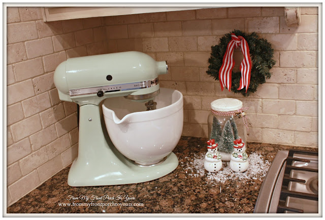 Vintage Farmhouse Christmas Kitchen-Pitstachio Kitchenaid Mixer-Christmas Vignette-From My Front Porch To Yours