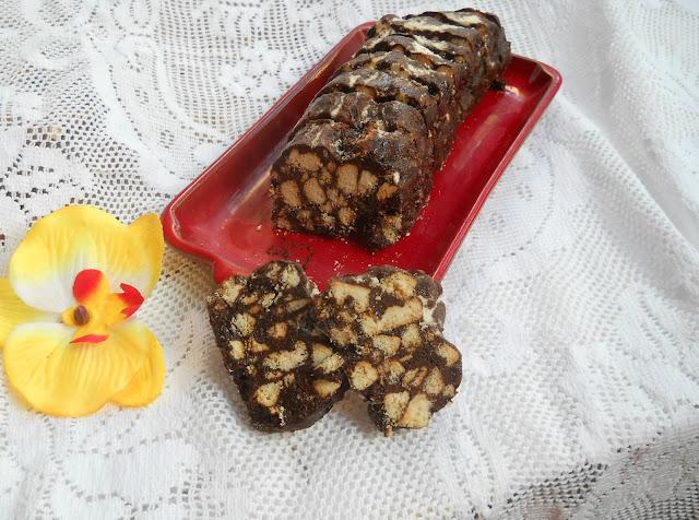 salame al cioccolato senza burro,senza uova e senza zucchero